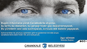 Belediye Başkanı Sayın Ülgür GÖKHAN'ın 18 Mart Şehitleri Anma Günü Ve Çanakkale Deniz Zaferi'nin 103. Yıldönümü Mesajı...
