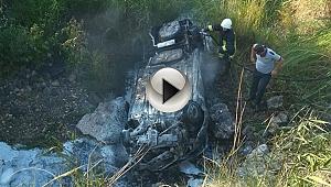 Biga'da otomobil yandı