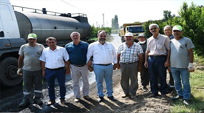 Lapseki'de Köy Yolları Asfaltlanıyor