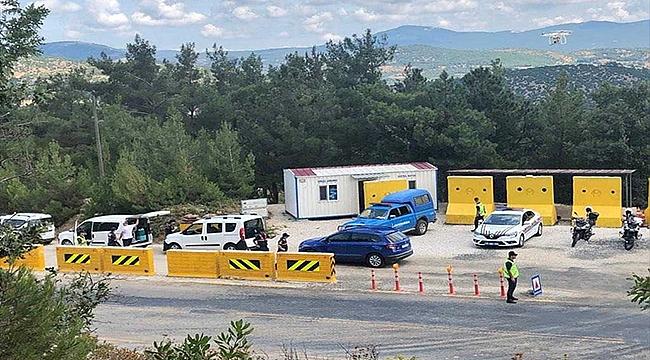 ÇANAKKALE'DE DRONE İLE HAVADAN TRAFİK DENETİMİ YAPILDI