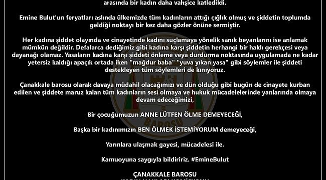ÇANAKKALE BAROSUNDAN EMİNE BULUT CİNAYETİNE TEPKİ!