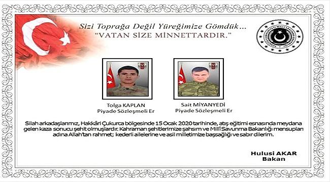 HAKKARİ'DE 2 ASKERİMİZ ŞEHİT OLDU!