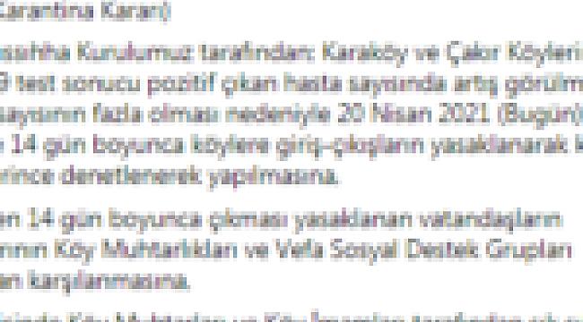 KARANTİNA KARARLARI GELMEYE DEVAM EDİYOR..!