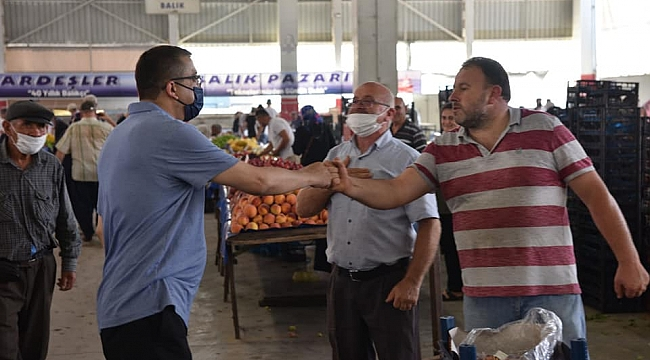 BAŞKAN ÖZ' DEN BAYRAM ÖNCESİ KURULULAN PAZAR YERİNE ZİYARET..